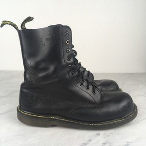 Dr. Martens Air Ware Black Skull Motorcycle Boots